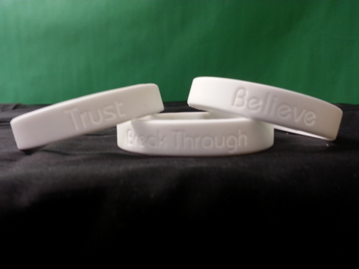 My personalized motivational wristbands.